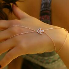 ROSE GOLD RING Statement Unique Hand Chain Finger Ring Bracelet - FREE SHIPPING