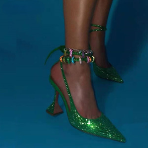 Fashion Women Pump Sequined Crystal High Heels Ankle Strap Party Wedding Shoes
