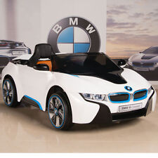 BMW i8 Ride On Kids Power Wheels Car RC Remote 12V White w/ Blue & Black Trim