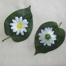 """6 White Daisy Artificial Silk Flower 2.5"""" Head Hair Clip Craft"""