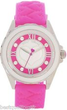 BETSEY JOHNSON PINK SILICONE HEART BAND+SILVER,WHITE+CRYSTAL WATCH-BJ00087-01