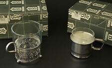 Vtg Boxed 2 Sets Tea Coffee Glasses Silver-plt Holders Sheffield Porciani Italy