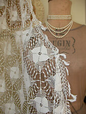 Francés antiguo de exquisita de encaje filet bordado textil ~ Mesa/Cama Colcha ~ c1920