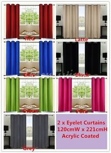 1Pair Coated Blockout Eyelet Curtain Black Latte Blue Green Grey Pink Red Purple