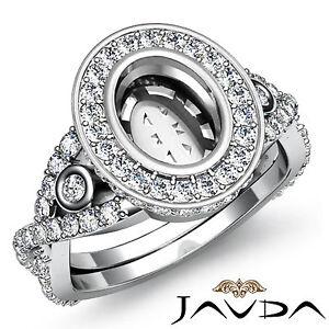 Oval Bezel Semi Mount Diamond Engagement Cross Shank Pave Ring Platinum 1.65Ct