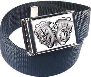 Smile Now Cry Later White Cholo Lowrider Belt Buckle Bottle Opener Web Belt