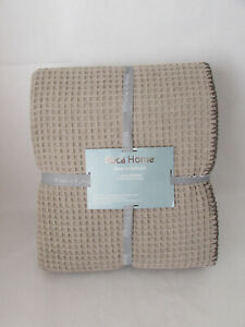 """Roca Home Cotton Waffle Blanket Tan Queen 90"""" X 90"""" Made In Portugal Washable"""