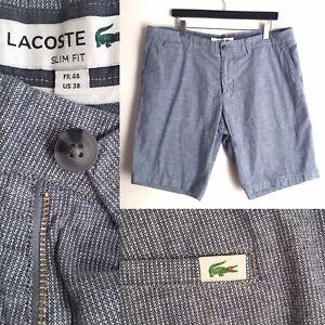 Lacoste Men's Slim Fit Bermuda Shorts Grey Cotton Linen Mix Fr 48 US/UK 38
