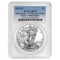 2021 (P) $1 American Silver Eagle PCGS MS70 Emergency Issue Blue Label
