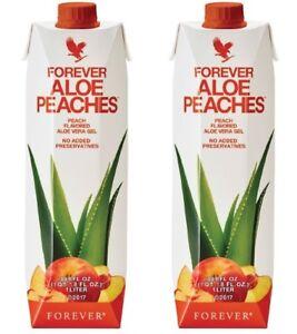 2 New Forever Aloe Bits N'Peaches -33.8 fl.oz(1 Liter), KOSHER/HALAL Exp. 2022