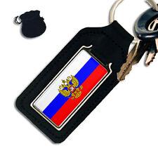 RUSSIA RUSSIAN FLAG OBLONG LEATHER KEYRING / KEYFOB