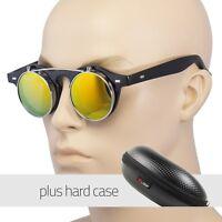 Cool Flip Up Lens Steampunk Vintage Retro Round Sunglasses Color Lens Case