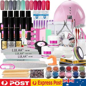Gel Nail Polish Acrylic Nail Art Starter Kit + UV LED Lamp Dryer Manicure Set E