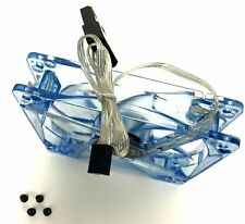 120mm Computer PC Clear Case Quad / 4 Blue LED Light CPU Cooling Fan 12CM Screws