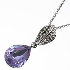 9.56 Ct Pear Cut Style Shape Purple Amethyst CZ 18K White Gold Plated Pendant