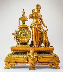 "19"" Ornate Antique French Bronze Le Masson Mantle Clock - KW4"