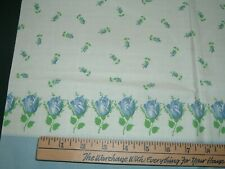 Vtg 40s Rodkeys Flour Label Factory Sewn Full Feedsack Blue Roses Pillow 30x40#B