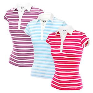Adidas Women's ClimaLite Golf Stripe Polo Shirt Top, Color Options