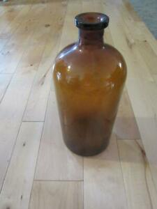 """HUGE OWENS ILLINOIS 1934? AMBER 13 1/4"""" TALL APOTHECARY JAR BROWN BOTTLE"""