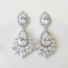 Chandelier Bridal Earring Marquise Drop Dazzling Cluster Diamond Wedding Earring