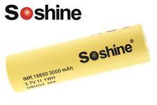 New Soshine IMR 18650 3000mAh 3.7V 35A High Drain Flat Top Rechargeable Battery