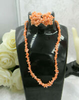 """Vintage Angel Skin Coral branch SET 16"""" Necklace & Pierced matching Earrings"""
