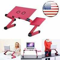 Adjustable Aluminum Laptop Desk Portable Bed Table Mouse Pad Cooling Fan Stand