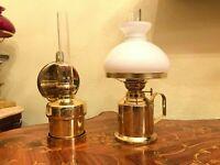 2 Danish Vintage Brass E.S. Sorensen Copenhagen Denmark 4095 Oil Lamps