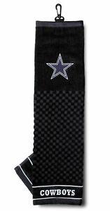 "NFL Dallas Cowboys Golf Towel Embroidered Tri-Fold 16"" x 22"" Hook Bag Clip"