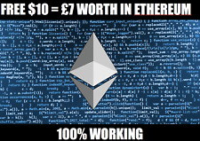 FREE ETHEREUM ETH CRYPTOCURRENCY WORTH $10 (£7) to your Account BEST VALUE ETH