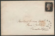 1840 SG2 1d BLACK PLATE 7 RED CROSS FINE COVER DONCASTER TO CAMBRIDGE (QL)
