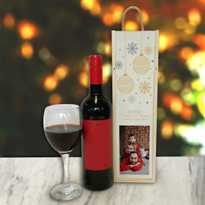 Personalised Wine Box Cream Baubles & Snowflakes Christmas Gift Add Any Photo