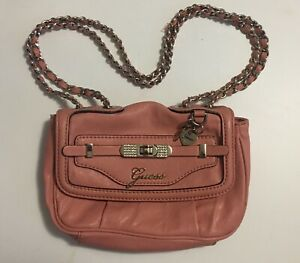 VTG 80's Guess Bling Charm Mini Pink Leather& Long Chain Handbag Purse Zani