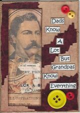 ACEO ATC Art Card Collage Original Men Dads Father Granddad Know Everything