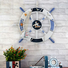 18'' Nautical Anchor Pine Boat Ship Steering Wheel Fishing Net Home Wall Decor
