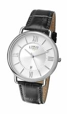 Limit Men's Roman Numeral Silver Tone & Dial Watch with Black Strap
