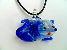Lovely Inlaid Lampwork Glass Cat  Pendant  Necklace Dark Blue