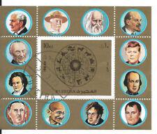 FUJEIRA-1972-CH DE GAULLE-KENNEDY-célébrités-Astrologie 1 bloc dentelé oblitéré