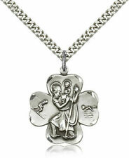 Sterling Silver St. Christopher Pendant 1 X 7/8 Inches With Heavy Curb Chain