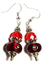Long Chunky Silver Red Diamante Earrings Drop Dangle Glass Bead Pierced Hook