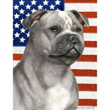 Patriotic (2) House Flag - Blue and White Staffordshire Bull Terrier 32248
