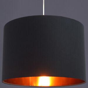CGC Black Gold Inner 30cm Drum Lamp Fabric Shade Pendant Table Lamp Bedroom