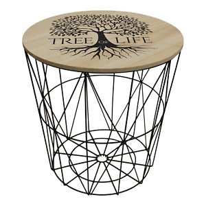 Tree of Life Design Wire End Table Home Office Living Room Furniture with Lid