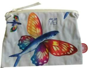 Bonjour Mon Coussin Toiletry ZipUp Makeup Beauty Bag NEW Butterfly Fish Arc Mer