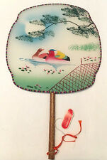 """Vintage Chinese Silk and Bamboo Hand Painted Paddle Fan - Bird Scene 12"""""""