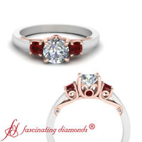 3 Stone Underneath Scroll Engagement Ring With 1 Carat Round Cut Diamond & Ruby