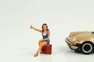 70`S Cool Girl Figurine Hitch-Hiking Racing 1:24 American Diorama No Car
