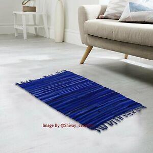 Rug Handmade Indian Chindi Rag Rug 100% Recycled Cotton Woven Floor Mat