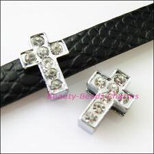 8Pcs Crystal Rhinestone Slide Cross Beads Charms Wristband DIY Bracelets 10x14mm