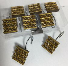 New 12 decorative shower hooks Brown/Golden Foil squares resin by Creative Bath